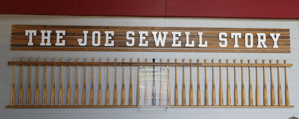 wall featuring the Joe Sewell Story