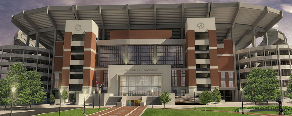 rendering of the North exterior of the Bryant-Denny Stadium renovation
