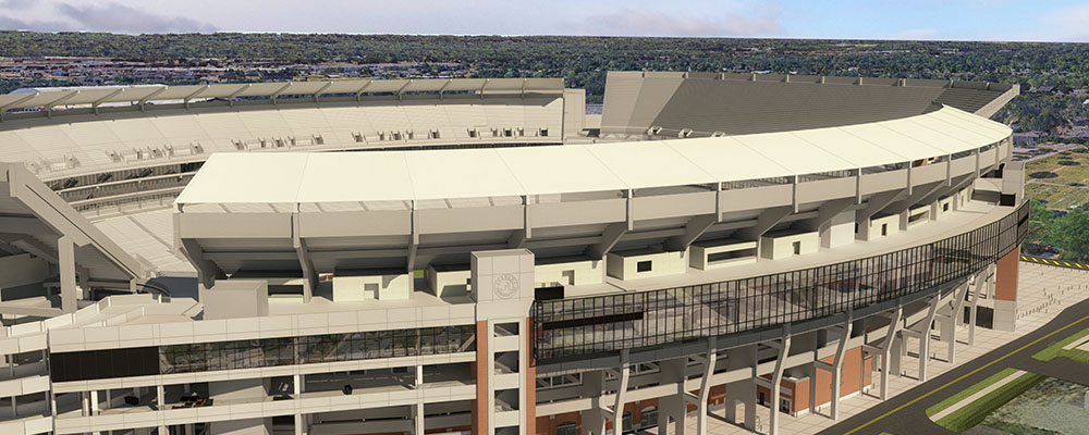 Rendering of the northwest of Bryant-Denny Stadium from the Walk of Champions
