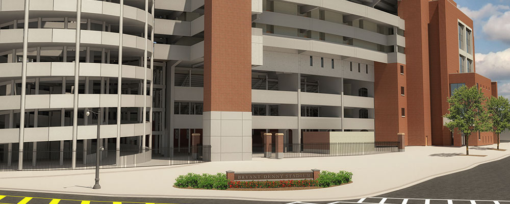 Rendering of the southeast corner of Bryant-Denny Stadium