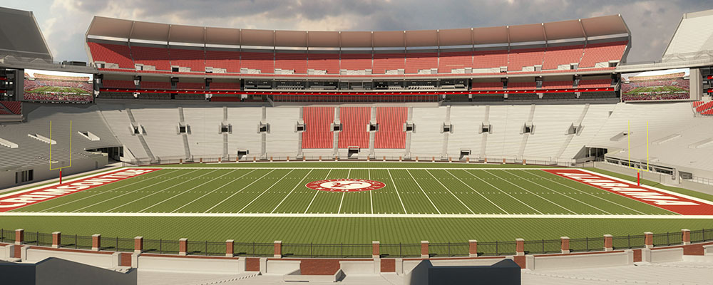 View of the field of Bryant-Denny Stadium renovations