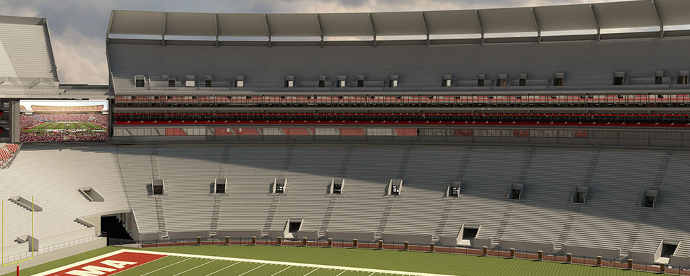 Rendering of the big screen after Bryant-Denny Stadium renovations