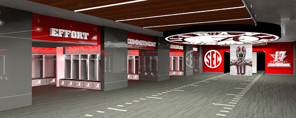 Rendering of the locker room after Bryant-Denny Stadium renovations
