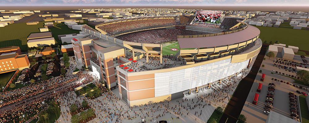 rendering of the Northwest exterior of the Bryant-Denny Stadium renovation