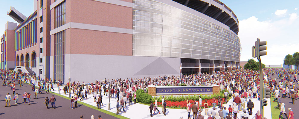 rendering of the Southeast exterior of the Bryant-Denny Stadium renovation