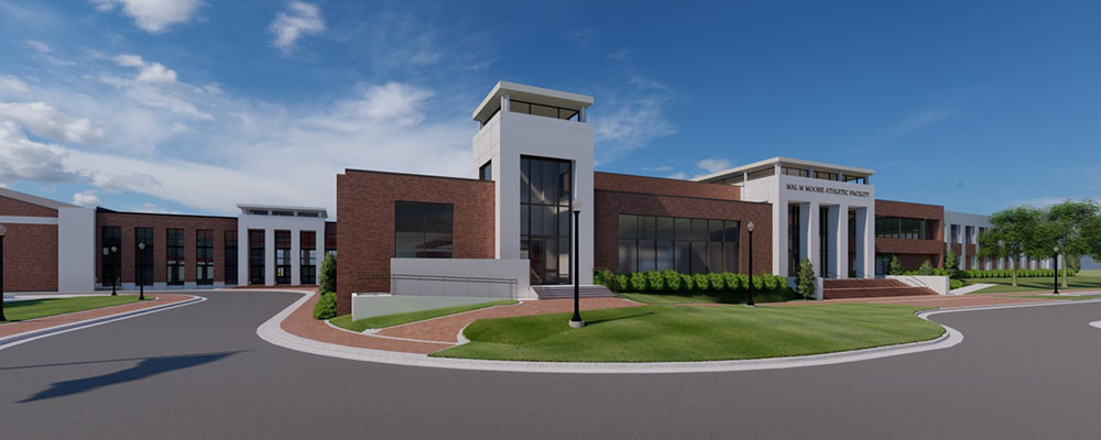 Rendering of the front exterior of Mal Moore Athletic Facility