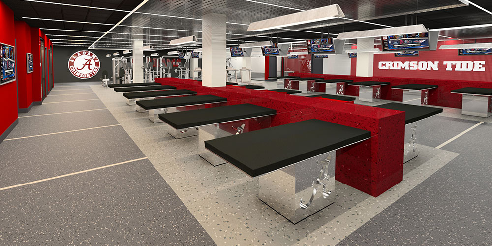 Rendering of the new Training Room inside Mal Moore Athletic Facility