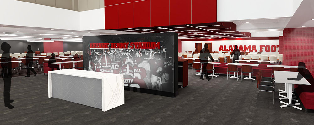 Rendering of the recruiting room after Bryant-Denny Stadium renovations