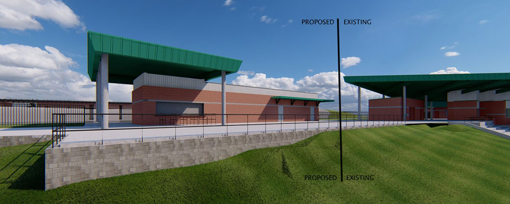 Rendering of the exterior of Rhodes Stadium