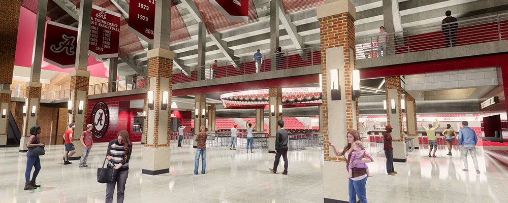 Rendering of the lobby of Coleman Coliseum