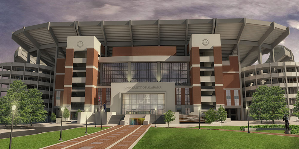Rendering of the north side of Bryant-Denny Stadium