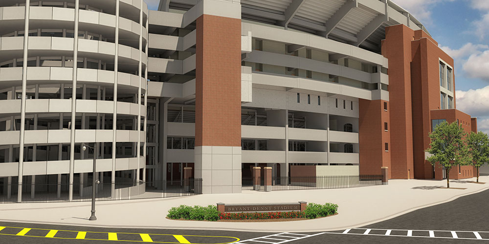 Rendering of the southwest corner of Bryant-Denny Stadium
