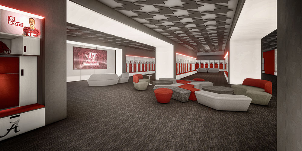 Rendering of the locker room inside the Mal M. Moore Athletic Facility
