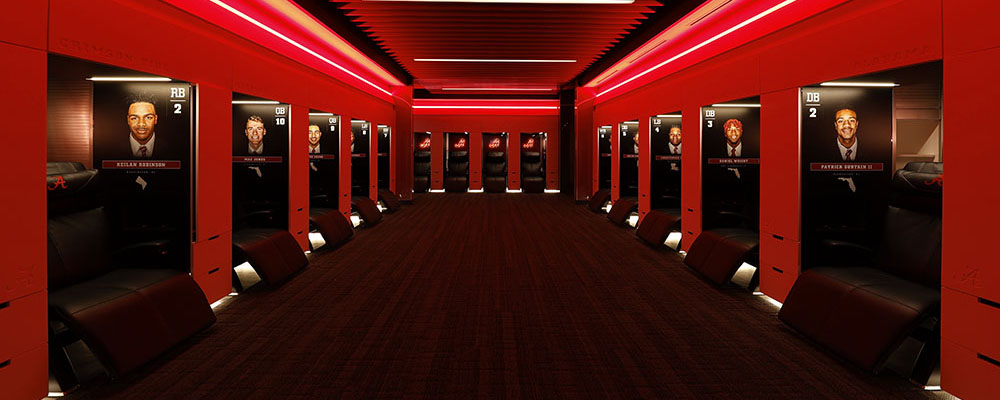 Locker Room in the Mal M. Moore Athletic Facility lit with red lights