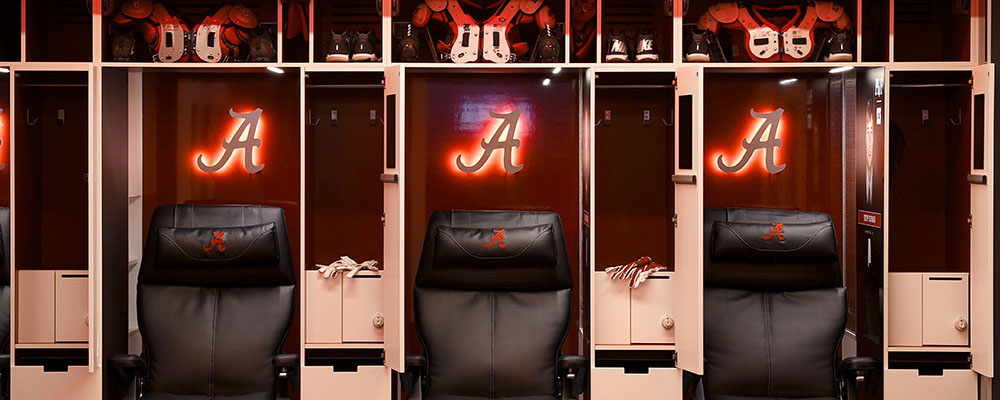 Locker Room in the Mal M. Moore Athletic Facility