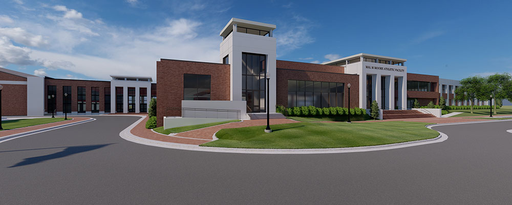Rendering of the outside of Mal M. Moore Athletic Facility