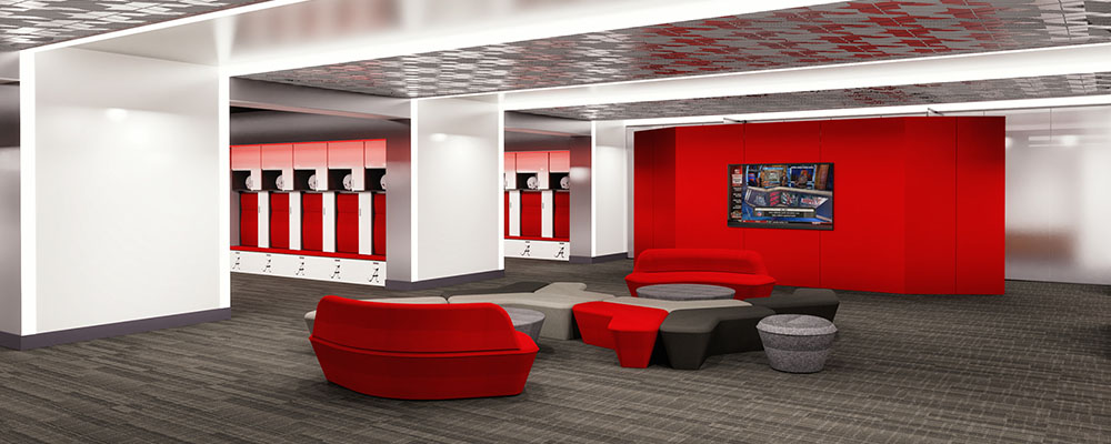 Locker room showing benches and lockers